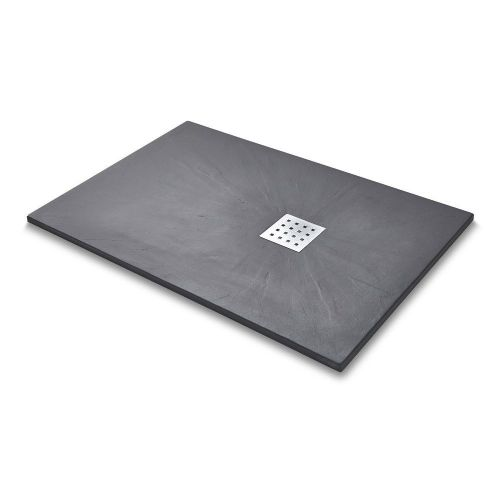 Mode 1200mm x 800mm Graphite Slate Effect Rectangular Shower Tray & Chrome Waste